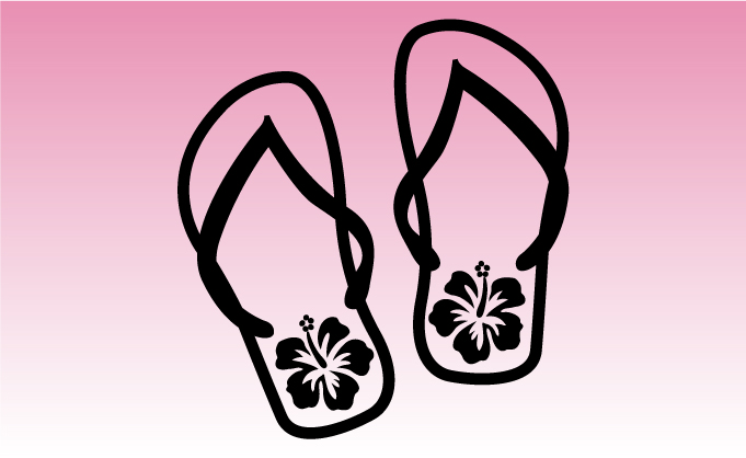 Flip Flops Girly Sticker