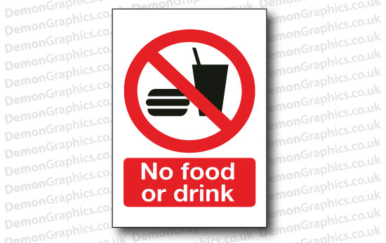 No Food or Drink Sticker or Sign
