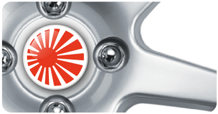 Wheel Centre Badges - Rising Sun (set of 4)