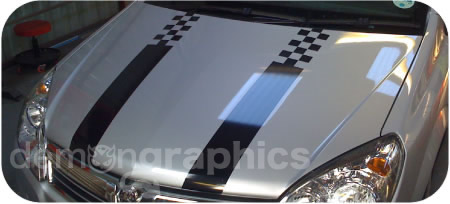 Demon car stickers - bonnet stripes