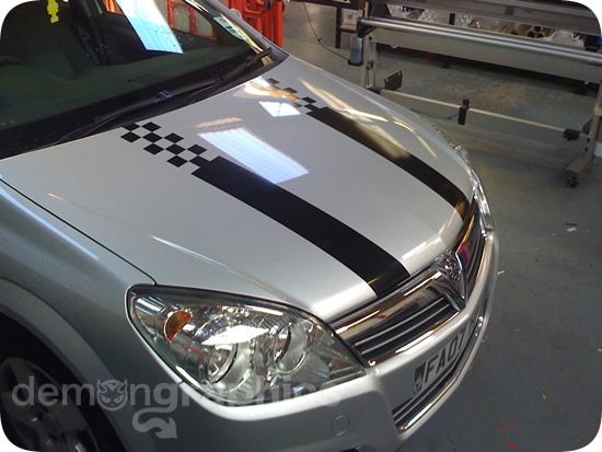 Bonnet stripes demon car stickers