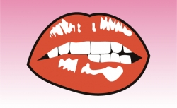 Biting Lip Girly Sticker